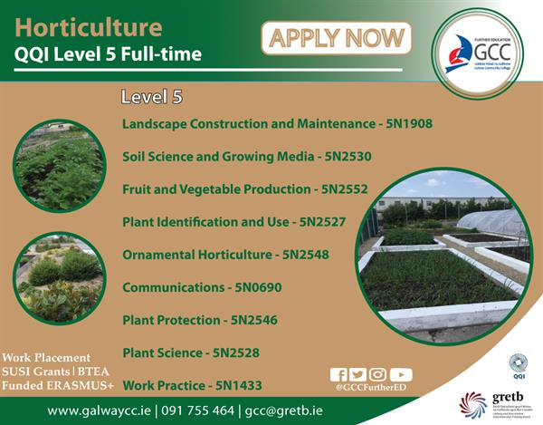 Apply Now for Horticulture Level 5 Course